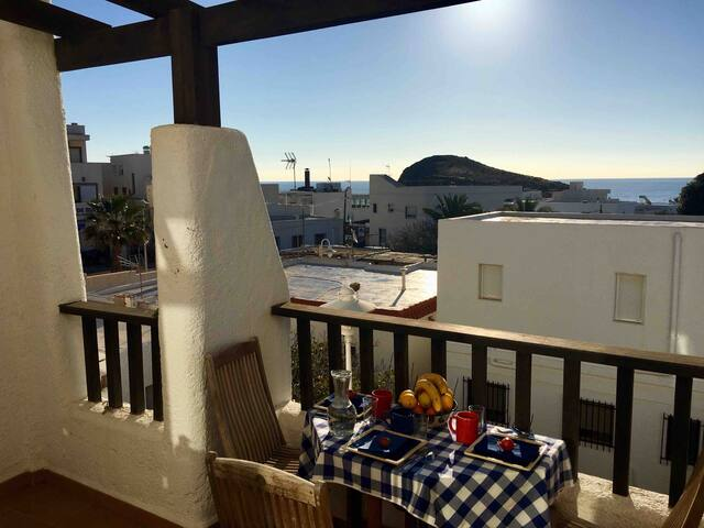 Cabo de Gata.La Isleta.Terrace with Sea views.