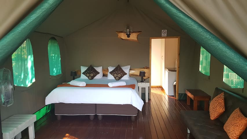 luxury tent with en-suite bathroom