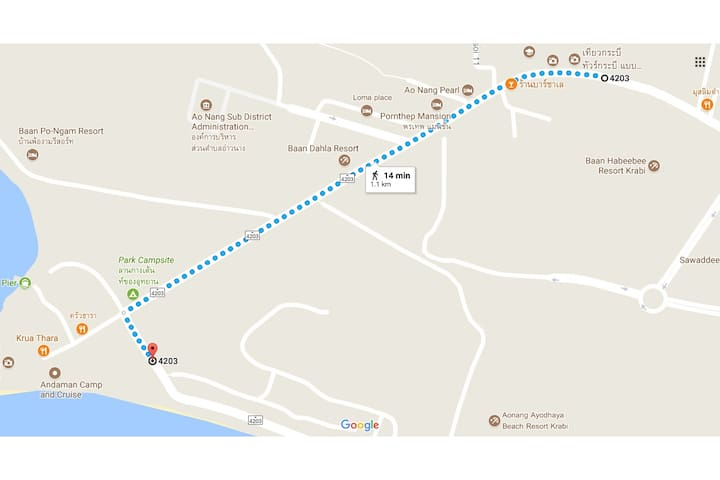 Google Map to the Nopparat Thara beach