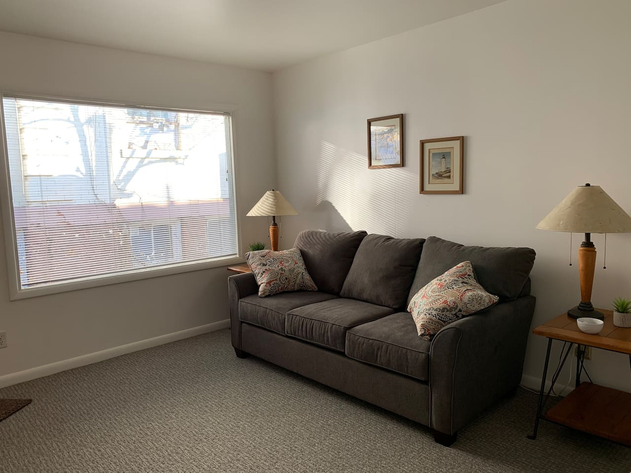 Comfortable living room with large picture window.