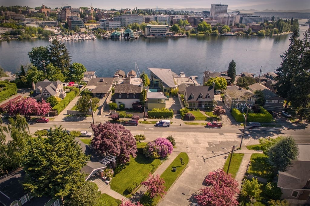 The house on corner lot with views of Portage Bay