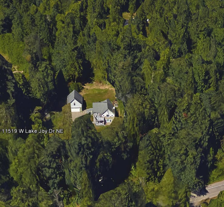 Google Earth Satellite Photo of Cabin in the Woods (left) and Main House (right).