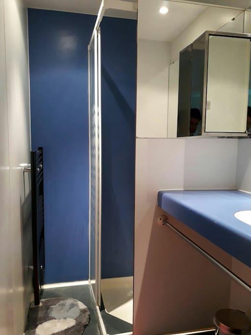 Salle de bain avec douche et miroir. Chauffage dans la salle de bain. WC séparé.