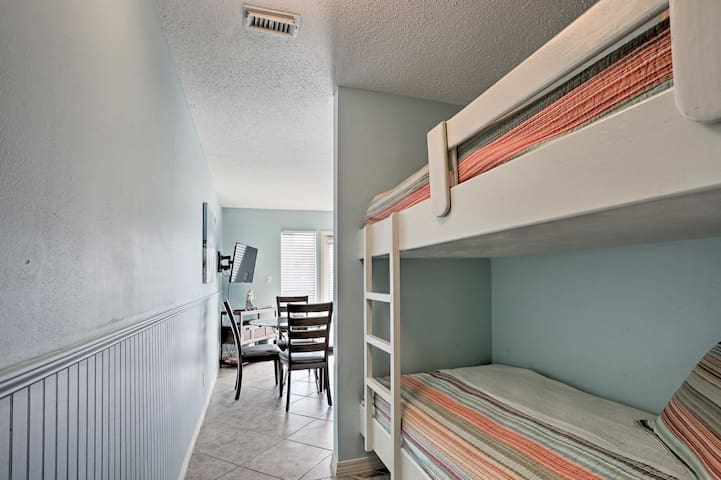 Kids will love sharing the twin-over-twin bunk bed in the hallway.