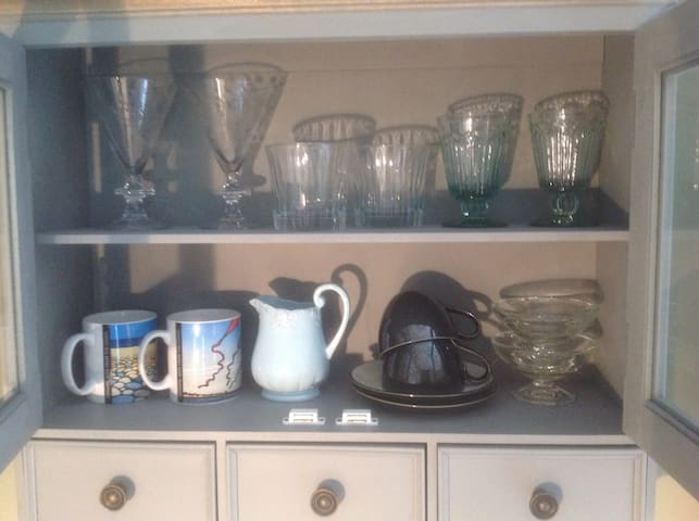 Crockery, glasses and cutlery for your use