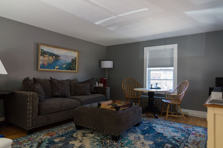 Living room with large couch for additional sleeping space for one person.