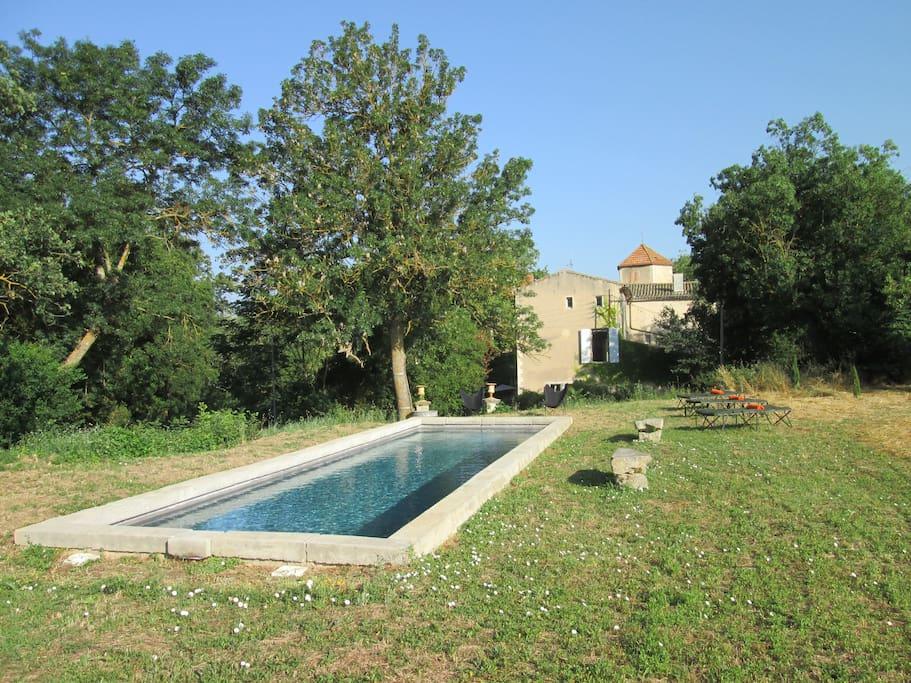 Le bassin de nage , de 12 mètres de long et avec alarme aux normes NF
