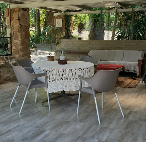 Spacious patio with comfortable seating and outside eating space