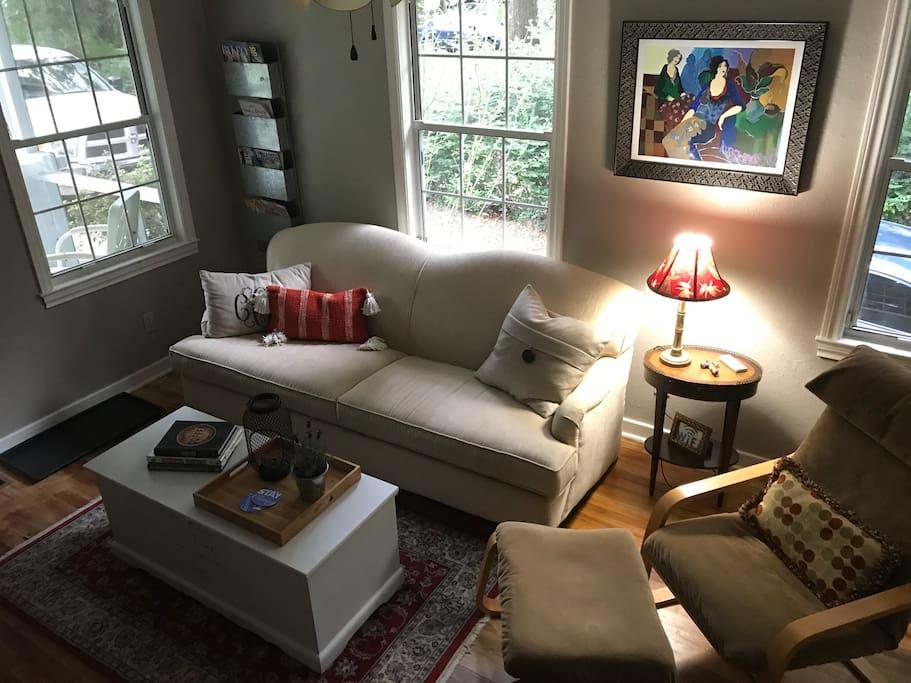 Comfortable living room with Roku TV