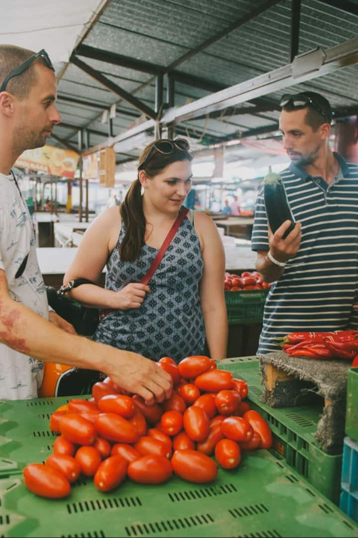 Visiting a local market