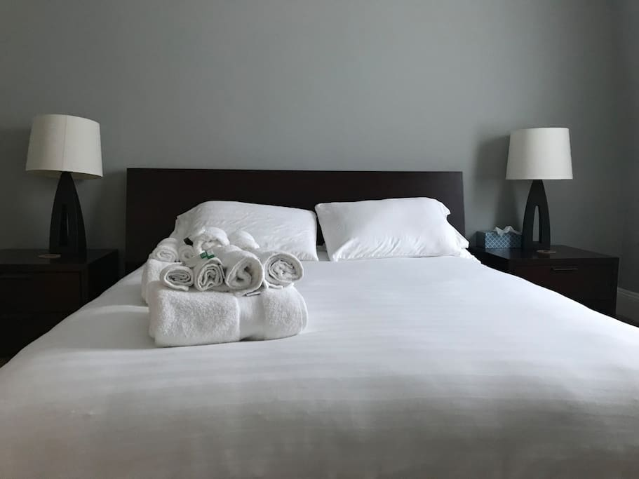 Spotless bedroom with fabulous clean linens, towels, shampoo, luggage rack, soap and lotion ready for your arrival.