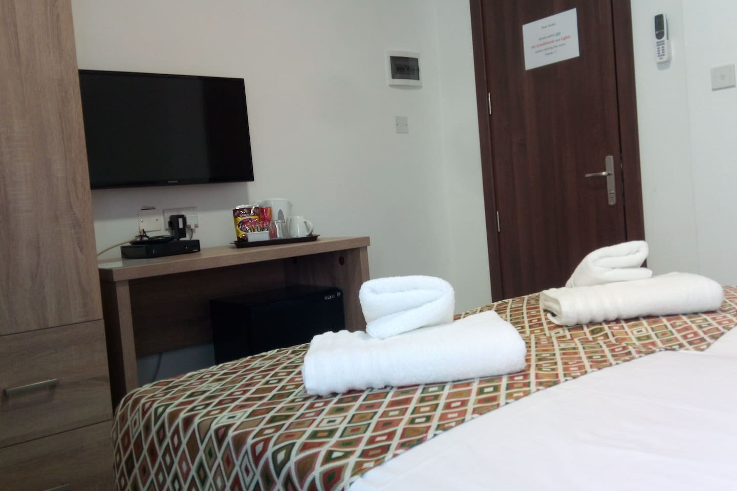 Equipped with Air conditioner, Cable TV, Kettle, Mini fridge, WiFi, En Suite and a common sea front balcony.
