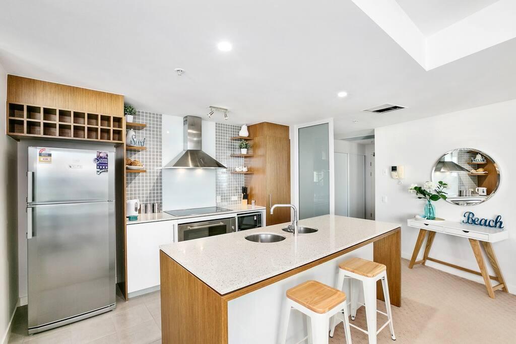 Open plan kitchen with modern appliances