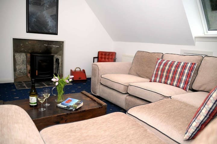 Loft room living area, big comfy sofa and a wood burning stove
