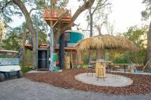 Treehouse elevator and Tiki hut