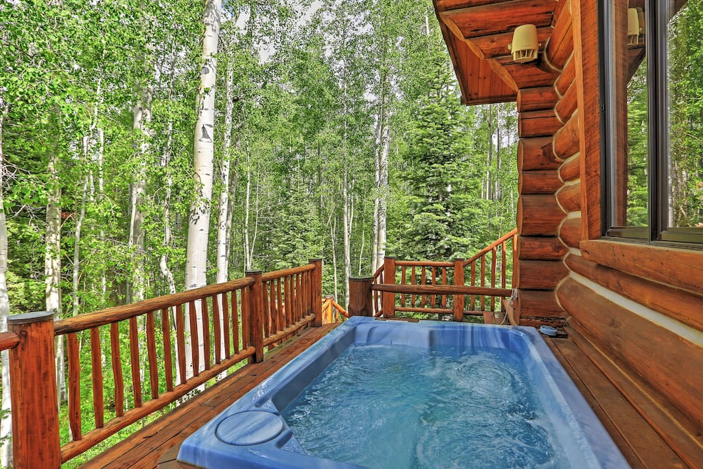 Soothe your muscles in this hot tub.