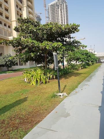 landscaping in front of the tower