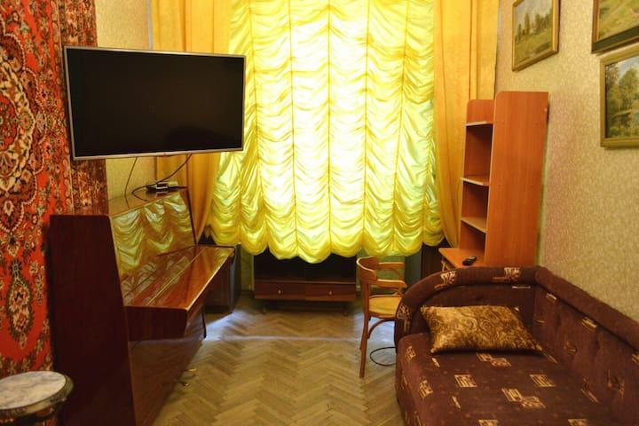 Односпальный диван и телевизор