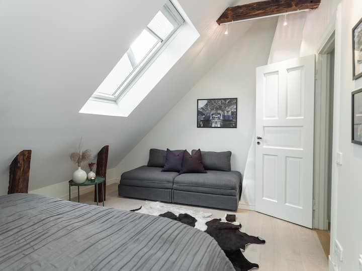 Modern, bright attic in 400 year old house