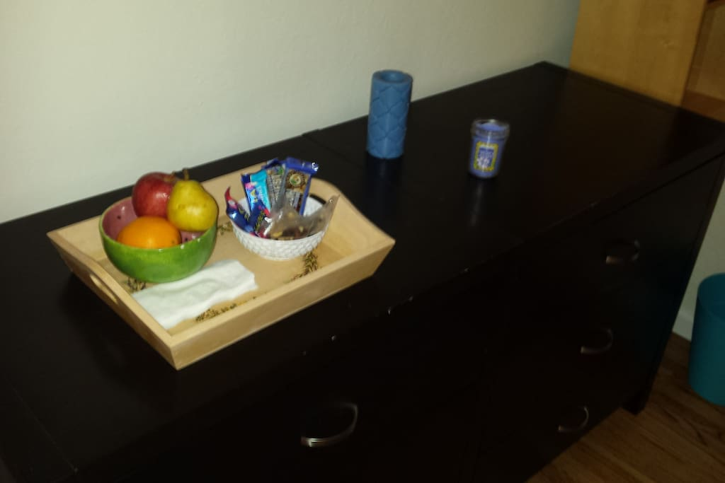 Snacks and dresser (there's also a large closet)