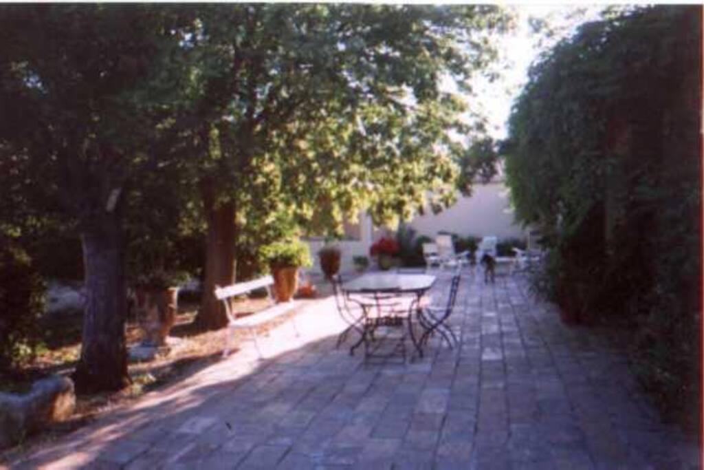 Terrasse ombragée devant la maison