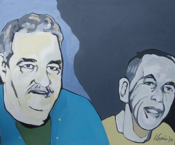 Your hosts, Joey & Barry. Painted by Karin Lapin.