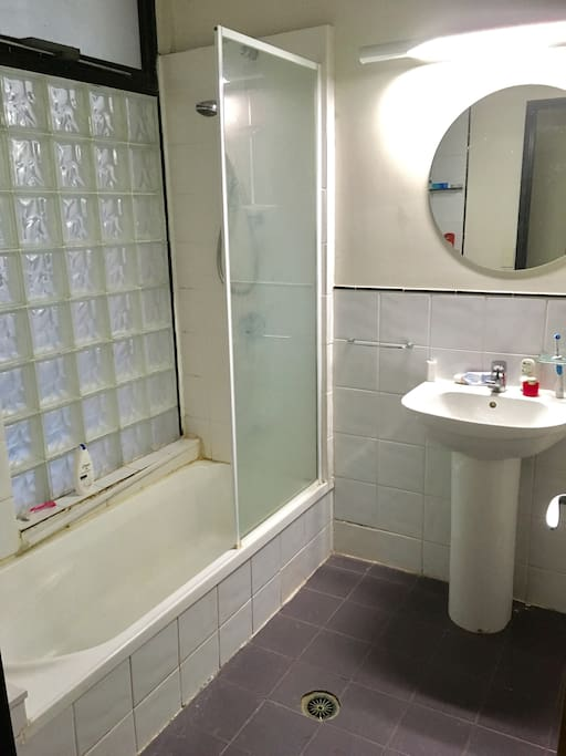 Shared bathroom with dryer