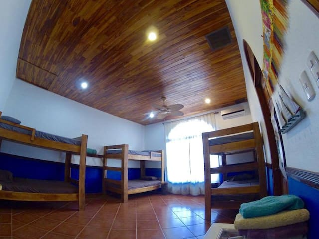 very large dormitory room, comfy beds, orthopedic mattress