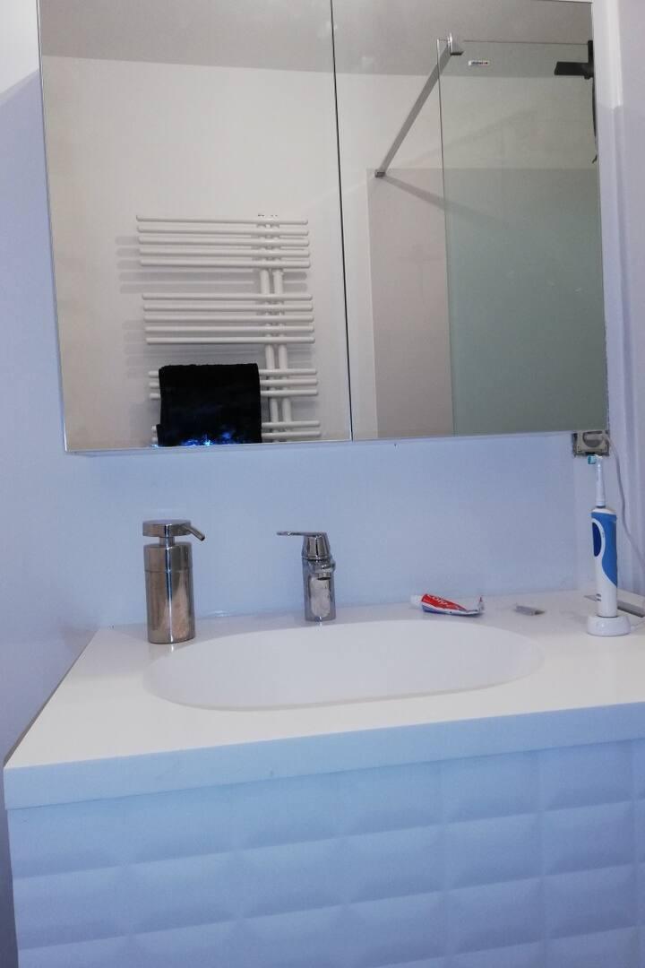 Chambre avec lavabo lit de deux personnes.