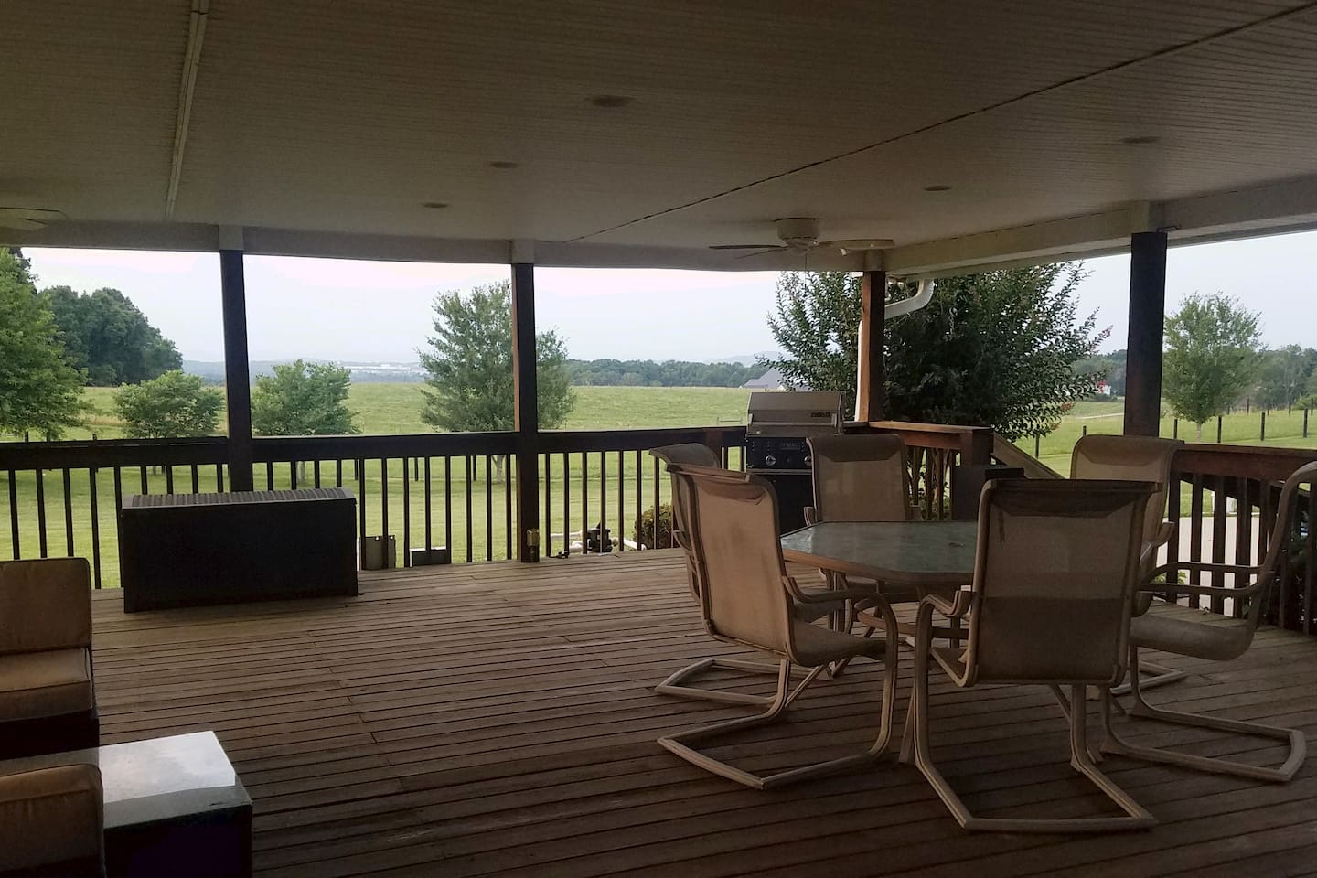 Covered Deck looking on pastures