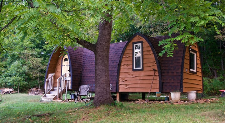 Bear Minimum. Experience true tiny home living in this charming and unique rental with beautiful views of Cold Mountain.  Close to trout fishing and hiking trails, Blue Ridge Parkway, Sliding Rock.