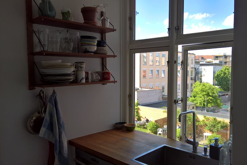 View to our common garden from the kitchen