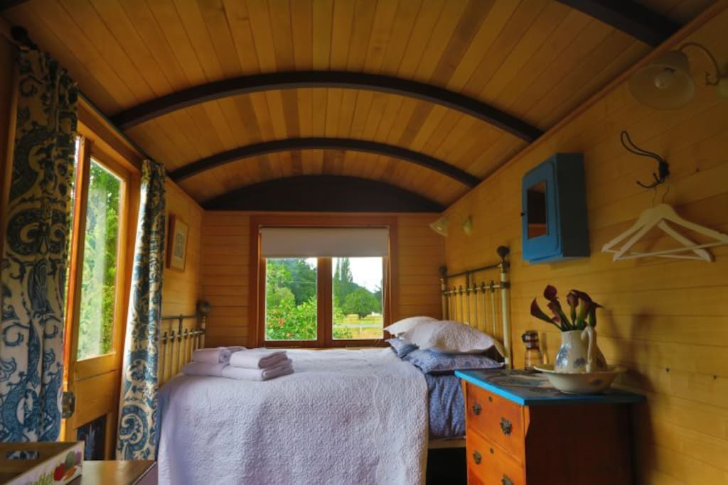 Inside your  charming Shepherd's Hut