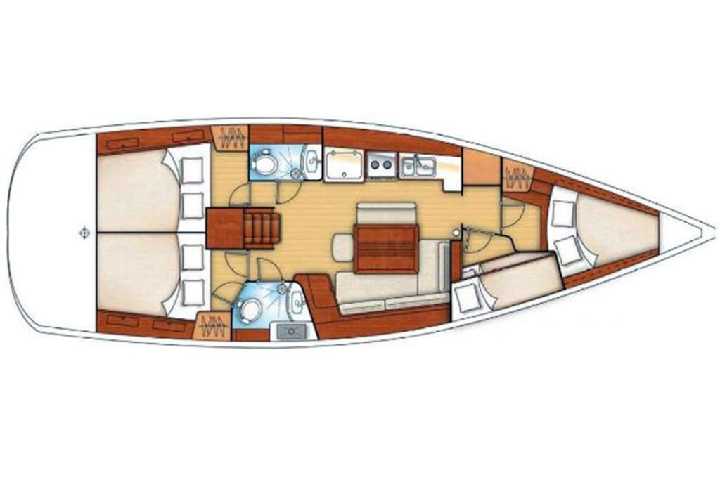Interior layout of our sailboat Rio,  S.V Rio & Wellness On the Sea. ⛵ we are a biodynamic PlantBase Wellness Sailing Experience    http://www.wellnessonthesea.com