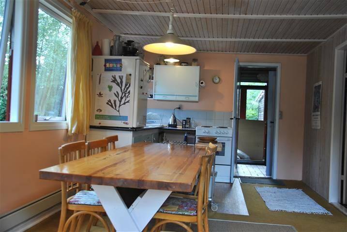 I huset er køkkenet i tilknytning til stuen. Der er køleskab og elkomfur samt det mest nødvendige service. Spisebord i tilknytning til køkken og stue.