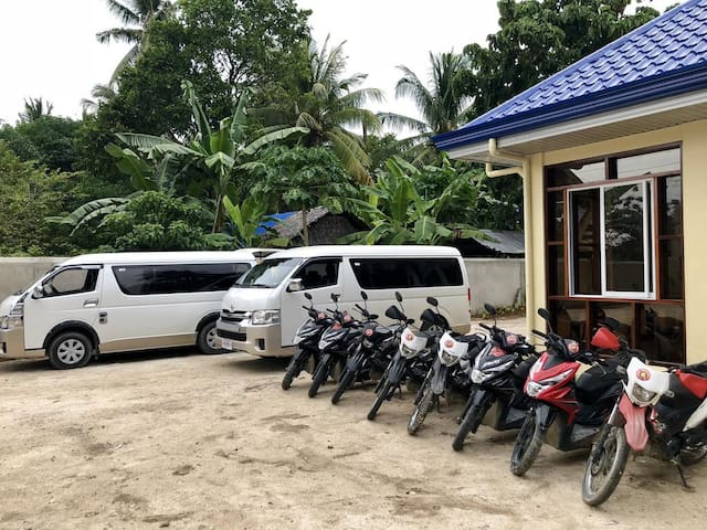 Car and motorbike rental available.