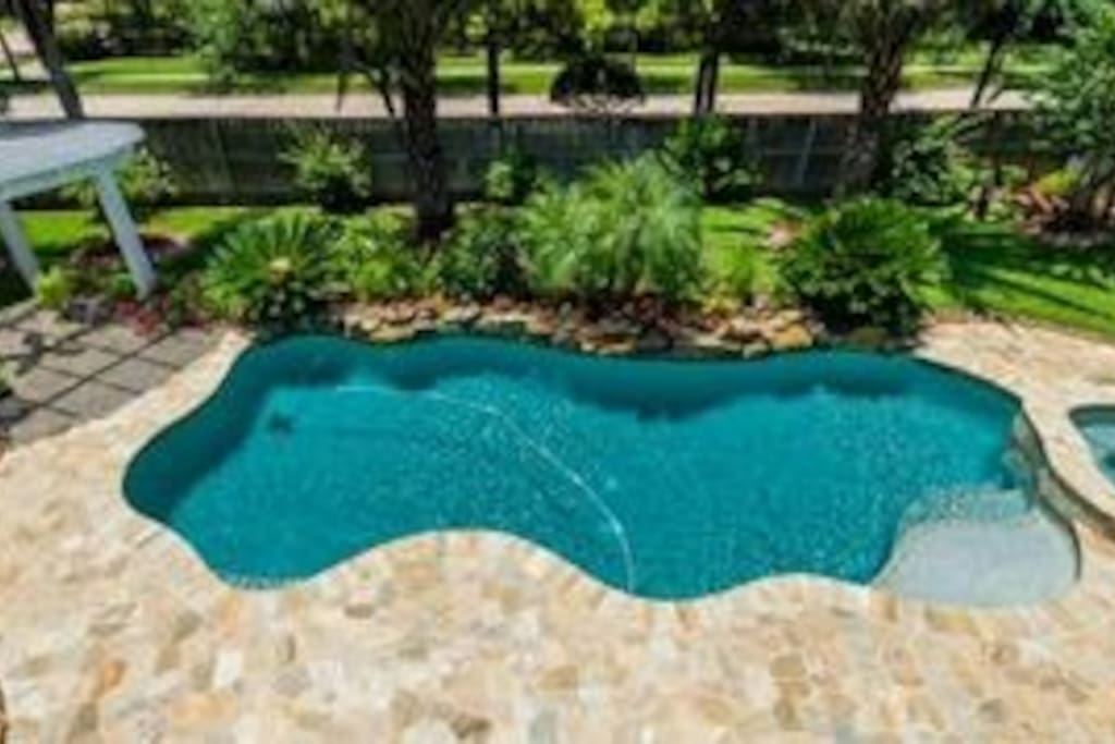 Backyard oasis with waterfall, pool & spa & lush landscaping with 9 mature palm trees