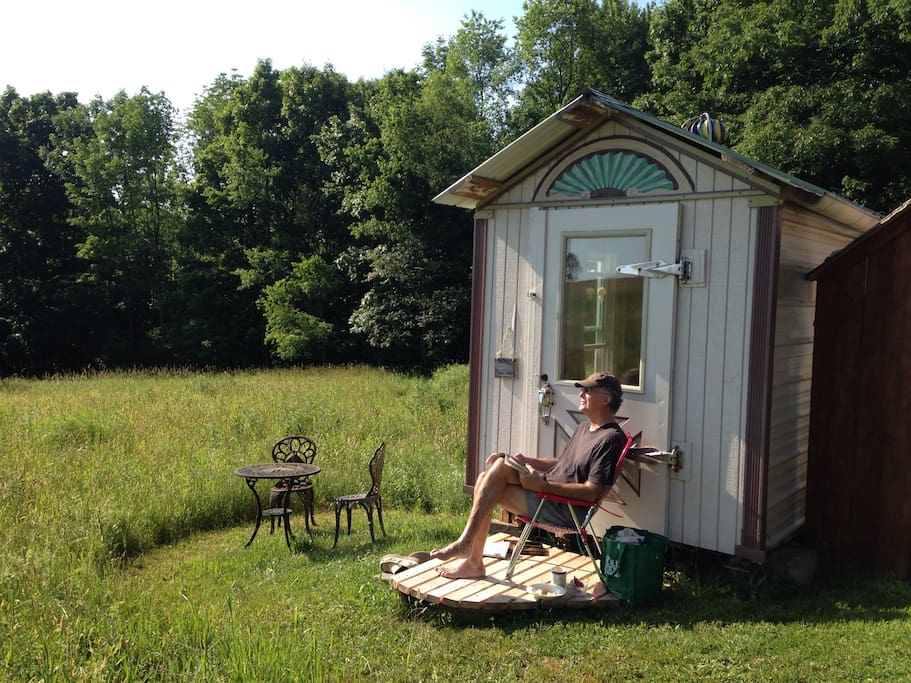 """Kerry, a recent guest, enjoying the """"Cool'r Cottage"""" magic"""