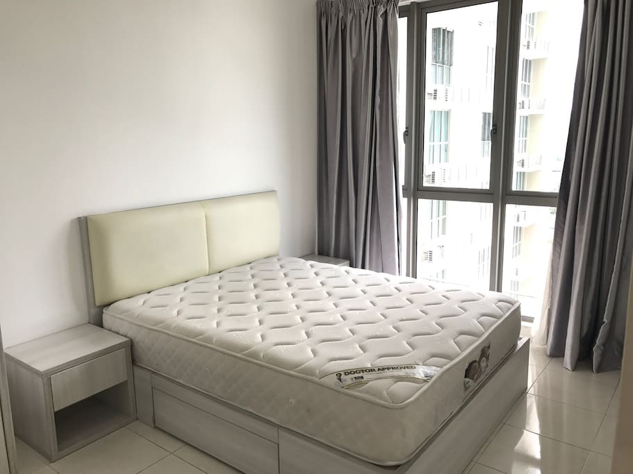 Q size bed (sheets are provided)
