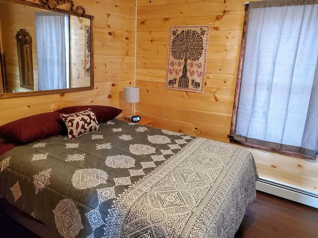 2nd bedroom with closet, drawers, and queen-sized bed.
