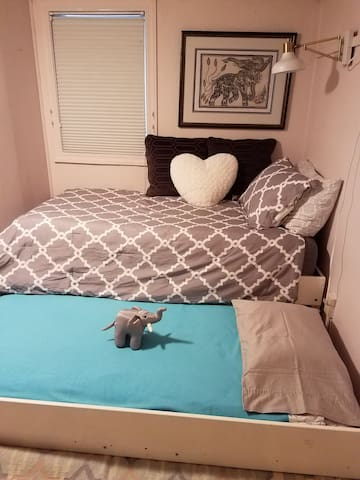 Here's the second bed that pulls out easily from the trundle and has a regular size mattress underneath that's super comfortable!