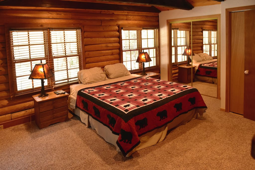 Large master bedroom with closet and its own fireplace.