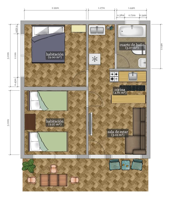 I'm not an arquitect but I found an app to design how the apartment distribution looks like, the sizes of the different areas are exactly as they really are. Some of the stuffs in this picture are not accurate, so it's  better explained as you see in the real pictures (for example; in the bathroom there is not hot tube but the app didn't give the the option for putting a shower). But basically everything is located as you can see in this distribution. I hope it helps you to understand, in a better way, the different areas that the apartment offers you...> 1 square meter = 10,76 square feets.  This is an apartment of 46 m2 (495 square feets) internal area.
