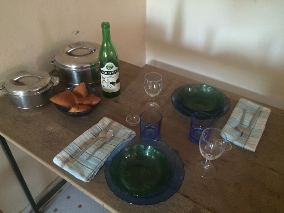 Dining table ready for dinner.