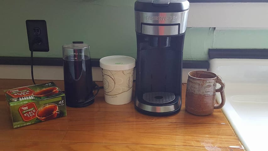 We also have tea, coffee, rice and lentils/beans available for our guests to use in the kitchen.