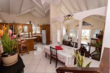 Living Room, Dining Room, and Kitchen
