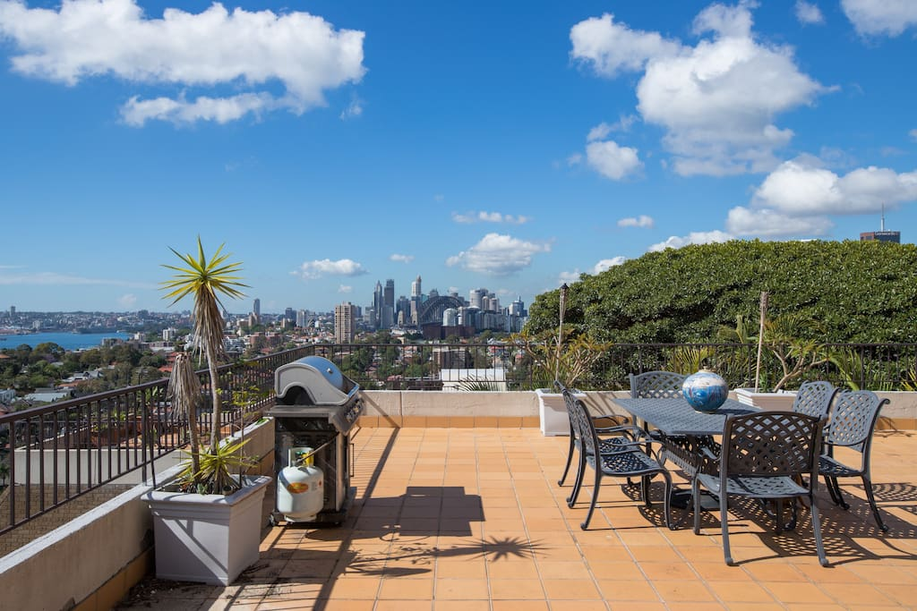 Private Rooftop Dining Area and BBQ