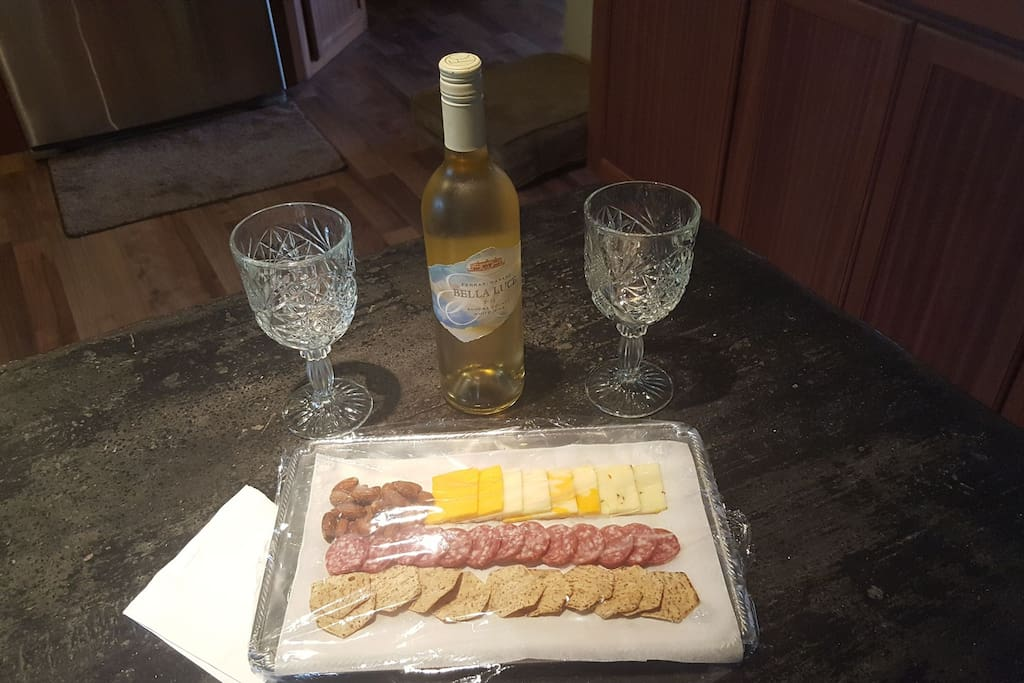 You're always greeted with a nice bottle of wine and cheese and salami tray!