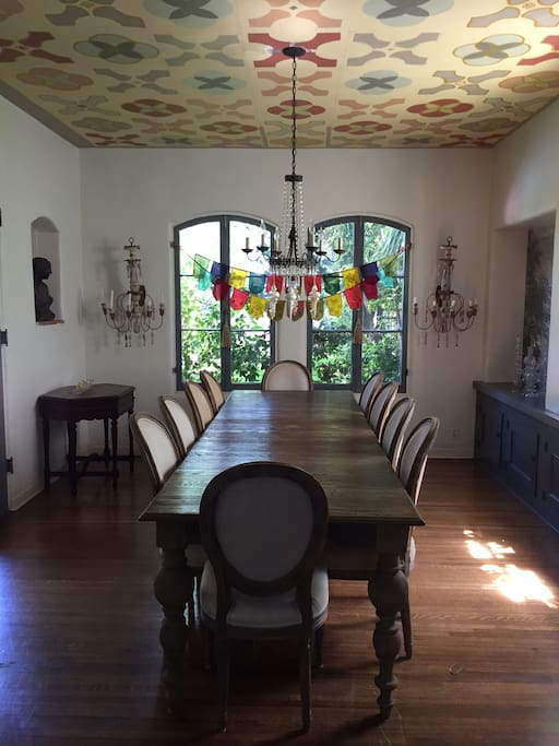 Large dining room that opens to verandah.