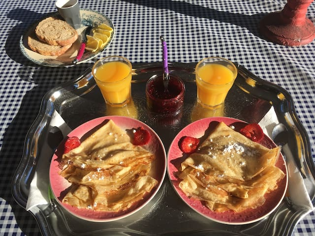 Home made French crêpes for breakfast